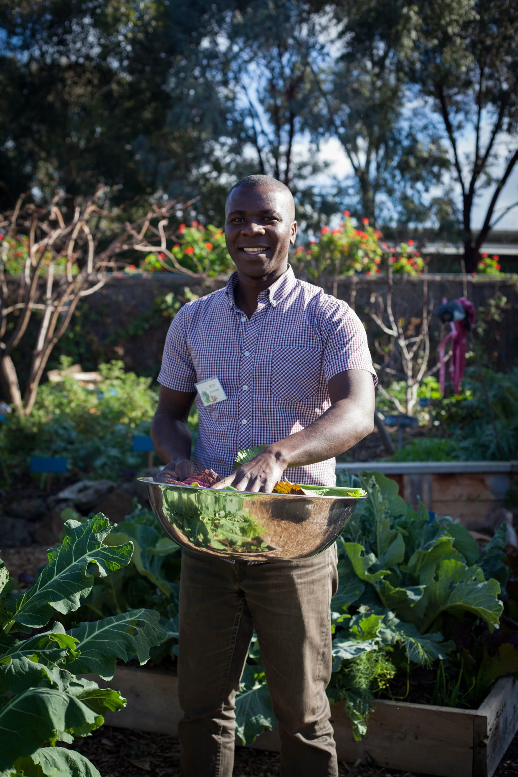 Man collecting vegetables in a metal bowl